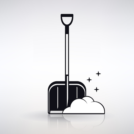 Icon shovel for snow cleaning on a light background