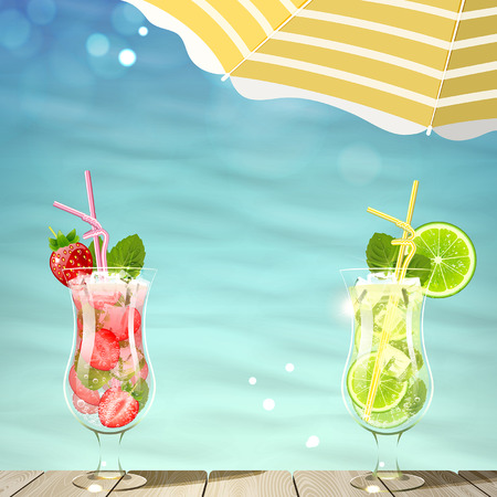 Tropical background with fresh cool cocktails
