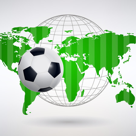 Soccer ball on the background of a green world map.