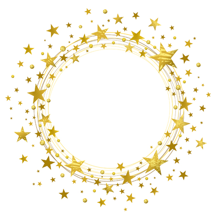 Wreath of golden stars on a white background