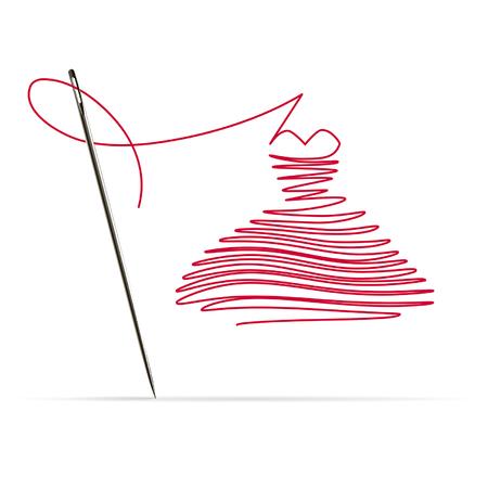 Nähnadel mit rotem Faden in Form eines Kleides auf weißem Hintergrund Vektorgrafik