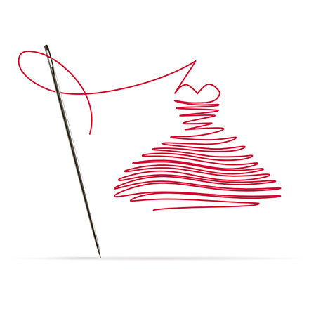 Sewing needle with a red thread in the form of a dress on white background
