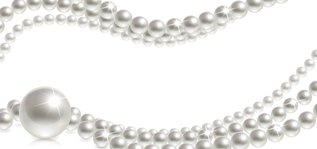 banner with pearls on a white background Illustration