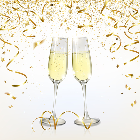 glasses with champagne and golden confetti on a light background Illustration