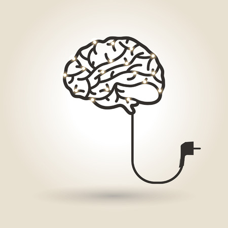brain symbol with electrical cord and light bulbs 向量圖像