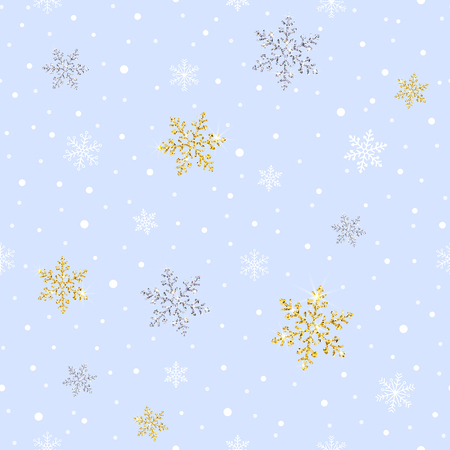 seamless pattern with sparkling gold and silver snowflakes on a light background