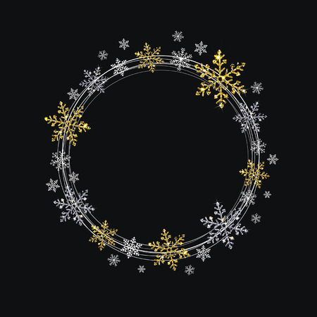 wreath of decorative gold and silver snowflakes on a black background