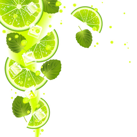 lime with mint leaves and splashes of juice on a white background