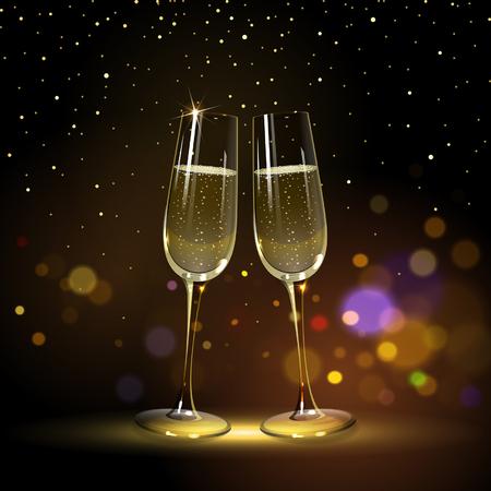 congratulatory background with glasses of champagne and golden confetti Illusztráció