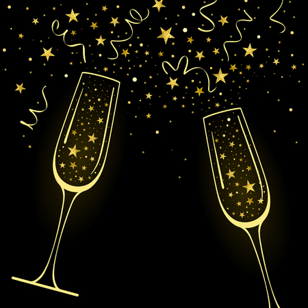 congratulatory background with decorative champagne glasses and gold stars confetti on a black background Illustration