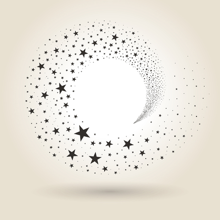 flying stars in the stream on a light background
