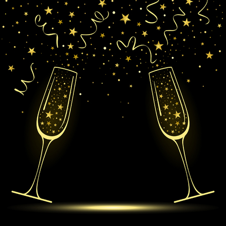 congratulatory banner with stylized champagne glasses with confetti from gold stars on a black background Иллюстрация