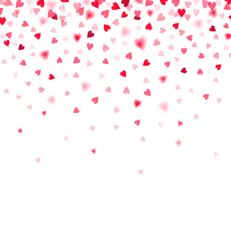 confetti of red falling hearts on a white background