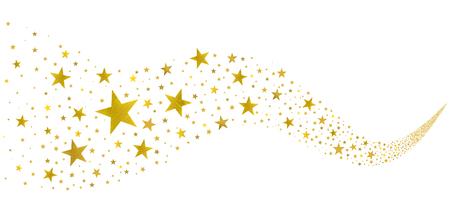goldene Sterne fliegen in einem Bach auf weißem Hintergrund