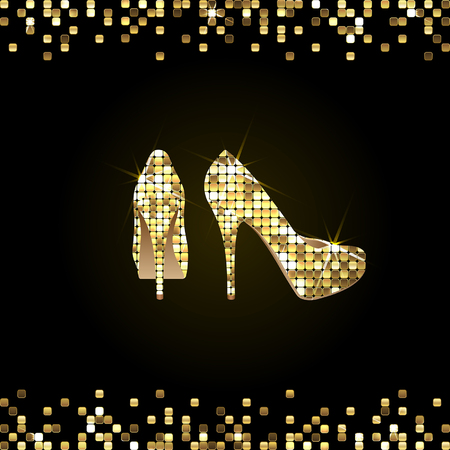 gold shiny high-heeled shoes on a black background