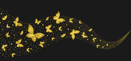 decorative golden butterflies in the stream on a black background