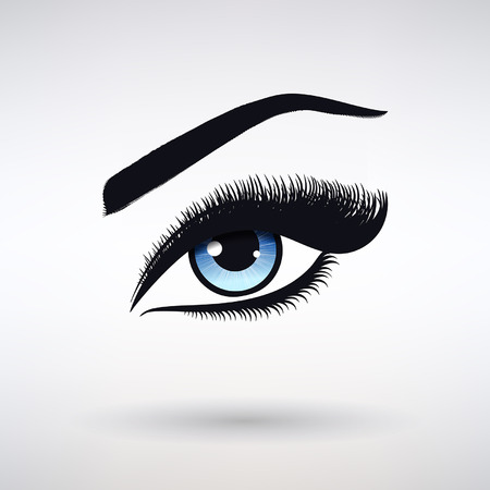 female eye with blue iris and long eyelashes on a light background Illustration