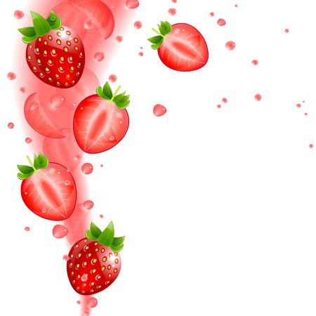 background of juicy strawberries and splashing juice on a white background