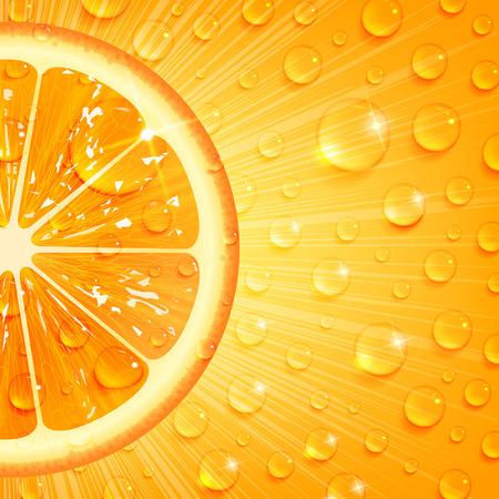 juicy orange background with water drops 向量圖像