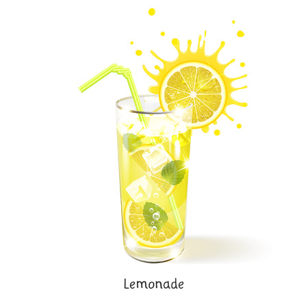 refreshing lemonade in a glass on a white background