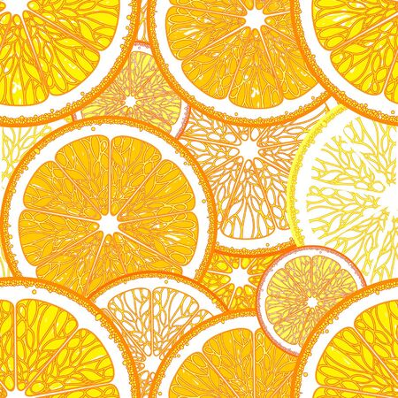 seamless pattern with stylized oranges