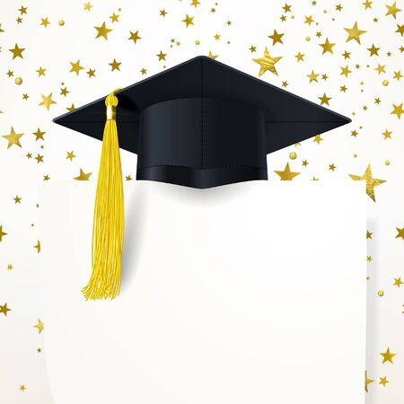 graduate cap with a gold tassel and diploma on the background of gold stars