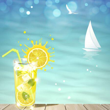 refreshing lemonade against the blue sea