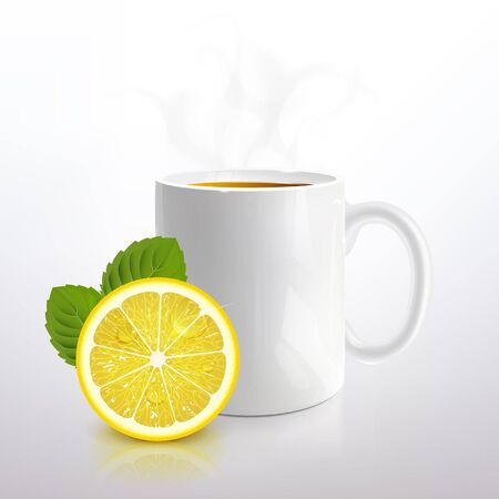 white mug of tea with lemon and mint on a light background Ilustracja
