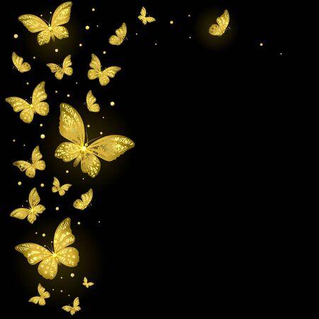 shiny decorative golden butterflies on a black background Ilustração