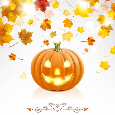 Halloween pumpkin and falling autumn leaves on a light background