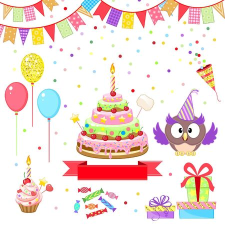 greeting set with funny owl and birthday cake on white background Illustration
