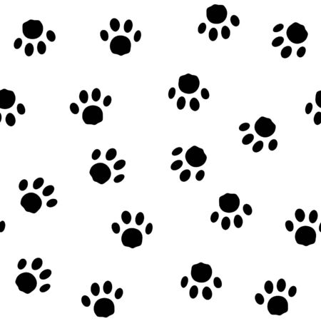 seamless pattern with traces of cat  on a white background
