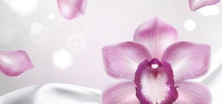 purple orchid on a white satin fabric background  and petals