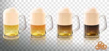 different types of beer in glass beer mugs on a transparent background