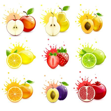 set of juicy fruits with splashes of juice on a white background 일러스트