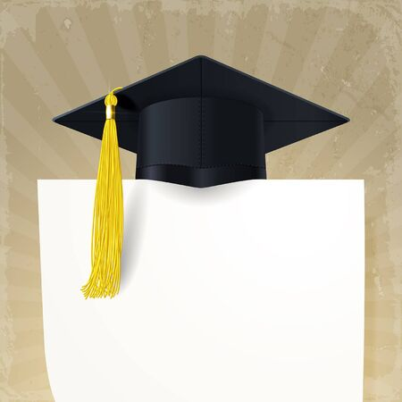 graduate cap with a gold tassel and diploma  on a retro background