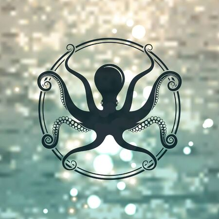 Octopus symbol in a circle on the background of the sea