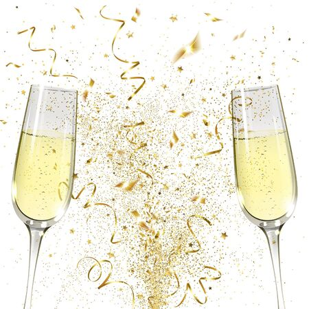 glasses of champagne and golden confetti on a white background