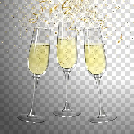 festive champagne glasses and golden confetti on transparent background
