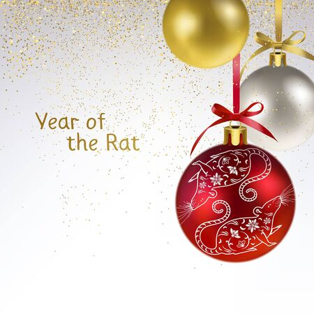 Christmas balls with the symbol of the year a white rat and golden confetti Illustration