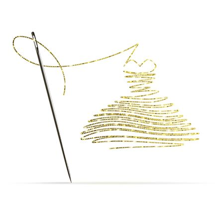 needle with gold thread in the form of a cocktail dress on a white background