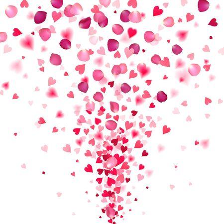 Explosión de confeti de corazones rojos y pétalos de rosa sobre un fondo blanco. Ilustración de vector