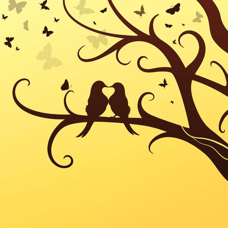 spring romantic birds sit on a tree on a background of a flock of butterflies Ilustrace