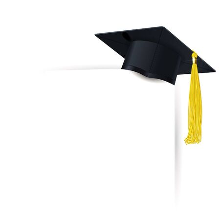 graduate cap with a yellow tassel and diploma on a white background Archivio Fotografico - 138195668