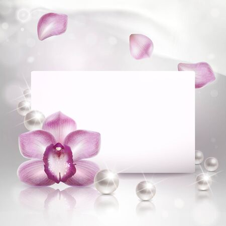 background with purple orchid and pearls