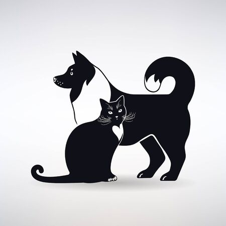 silhouette of a dog and cat on a light background Illustration