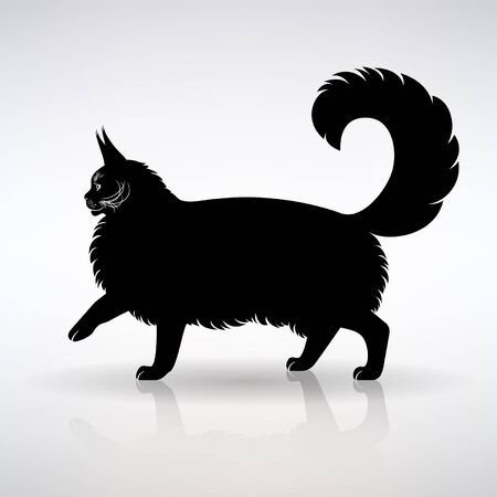 silhouette of a standing cat side view on a light background
