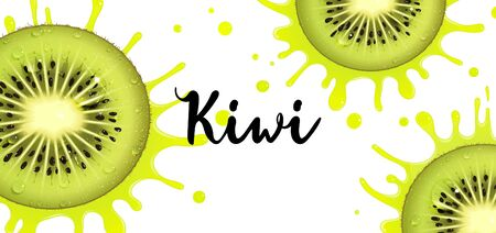 banner with juicy kiwi fruit and splashes of juice on a white background