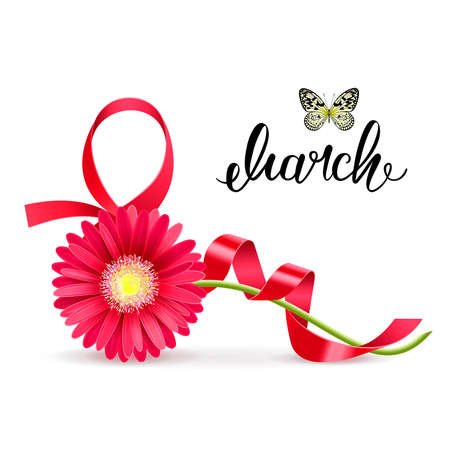 greeting card with March 8 and gerbera on a white background Illustration