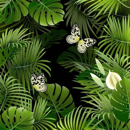 banner with tropical plants and butterflies on a black background